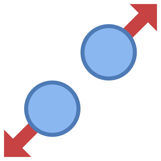 Allargare icon. Consider a circle to which an arrow mark is attached. There will be two circles separated by some distance to for which one arrow is towards the north-east direction and other is towards exactly opposite to it on the adjacent circle pointing towards south west direction. These two circles lie on an imaginary line which is at 45 degrees to the horizontal.