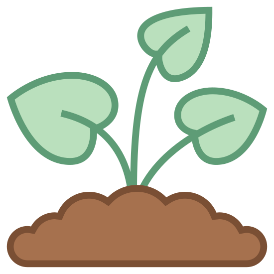 Sprout icon. The bottom of the icon is a single line creating the illusion of a rocky or dirt packed ground, with a plant growing up through the loose sediment. The plant has three simple leaves growing ladder-like, one on each side not rooted in.