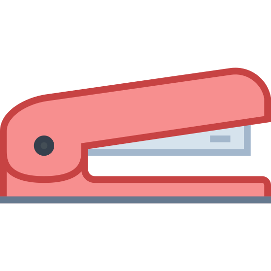 Zszywacz icon. It's an icon for a stapler. The image is of a stapler facing to the right. The base is a rounded rectangle and the top shows the metal portion underneath the top poking out.