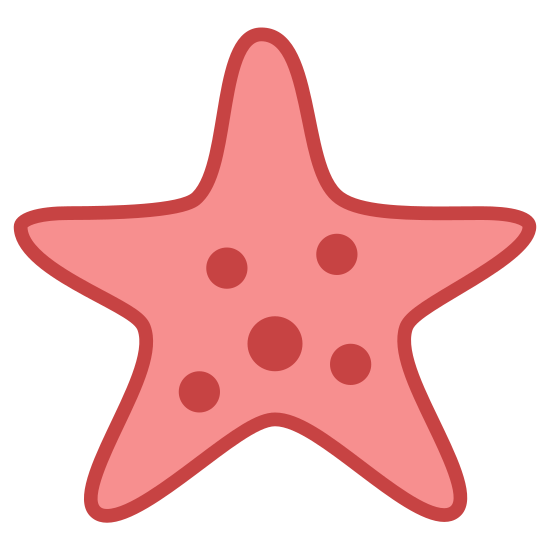 Starfish icon. The icon is shaped like a 5 sided star. There are 4 dots inside of the shape. The slightly bigger dot is located at the center, the other three are located at the left, right, and bottom right sides of the one at the center.