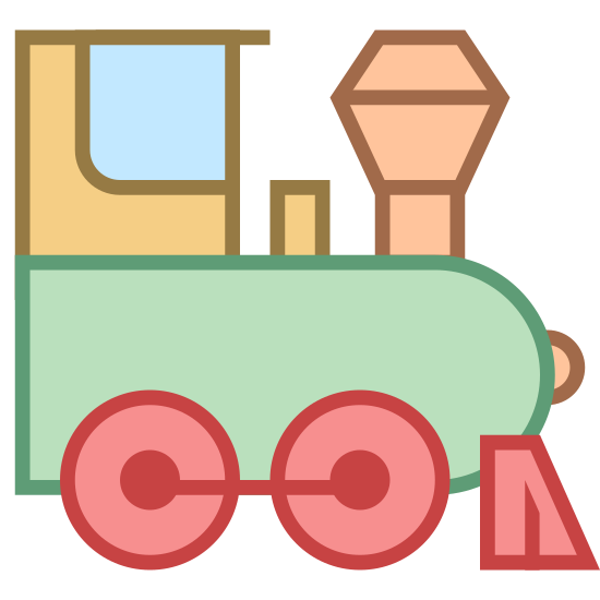 Silnik parowy icon. A single unattached old-fashioned train car -- specifically the one in first position, the engine car --  is seen from a side angle. A smokestack juts upward in front of the front window.