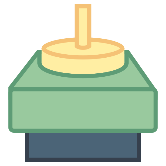 Stepper Motor icon. This is a photo of a half of a small rectangle on the bottom, a big square on top of that, a smaller circle on top of that, and a cylindrical figure on top of that.