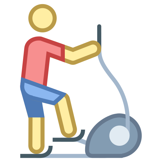 Stepper icon. This looks like a person holding a string, attached to a circle. The circle is sitting on the ground. The Circle has a small line coming from it, which the person is stepping on.