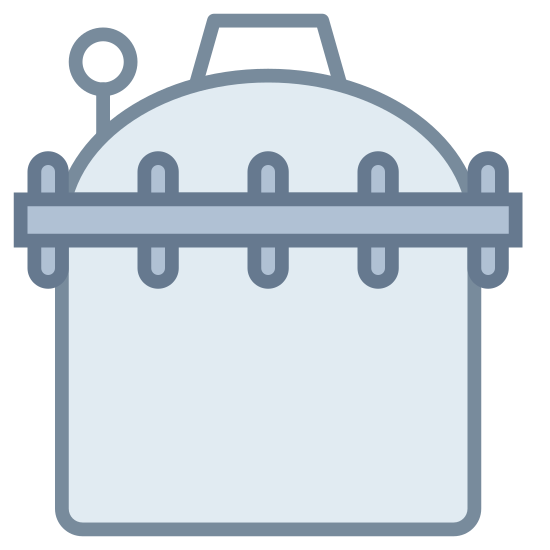 Sterylizacja icon. This icon represents sterilization. It has a circle on top of it with one small line inside leading down into an oval object with a flat bottom. It is separated into two parts by one circle line with three lines.