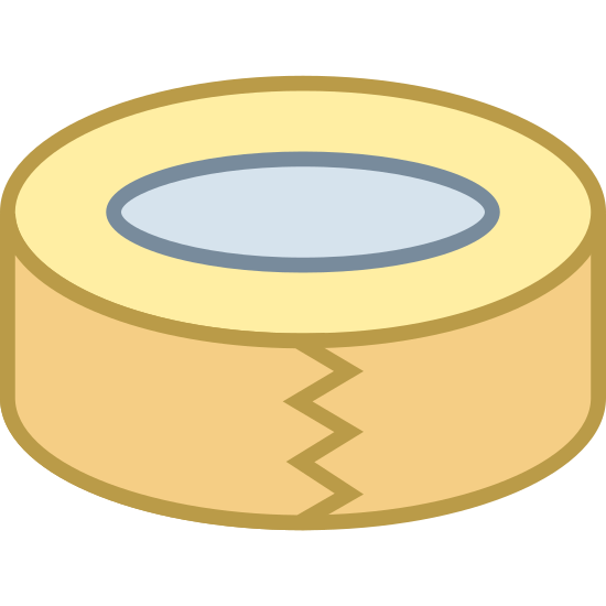 Scotch Tape icon. This icon represents sticky tape. It has two circles, one layered within the other. In the middle of the outside circle is three dark lines in a rectangle form with breaks in it.