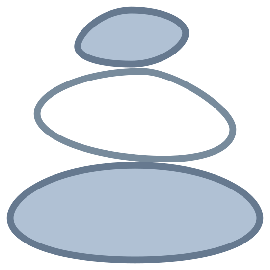 Kamienie icon. There are three ovals stacked high. The bottom oval is the biggest and the top oval is the smallest. There's a small line inside each of the three ovals, along the top right side of each oval.
