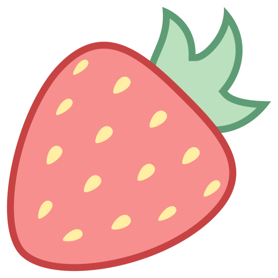 Strawberry icon. This is a picture of a strawberry. The main part of it is like a curved arrow pointing left and it his dots in the center. The top has a 3 edged object which is the leaf.