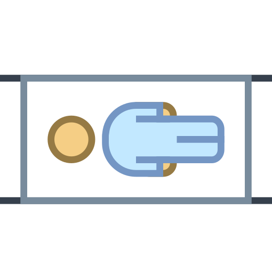 Stretcher icon. A stretcher icon consists of a rectangular shape, and little dots on each other corners to represent the wheels. The rectangular shape is bed or stretcher that the person lays on. The stretcher icon will also have an outline of a human being in the center.