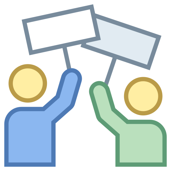 Strajk icon. Its a logo of two generic people figures holding blank signs over their heads. It the people have no faces or details and are only a silhouette. The signs are blank rectangles one per person held up by a stick.