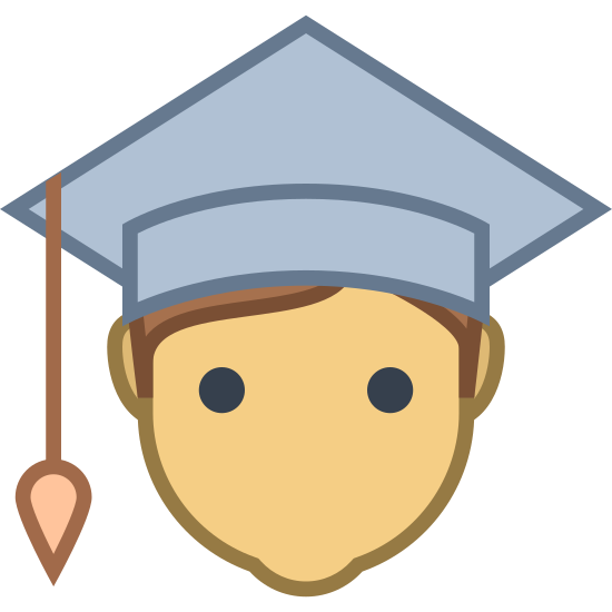 Student Mężczyzna icon. This is a picture of a man's face with no features, just ears. he has a square shaped graduation cap on with a tassle danging from the corner of it.
