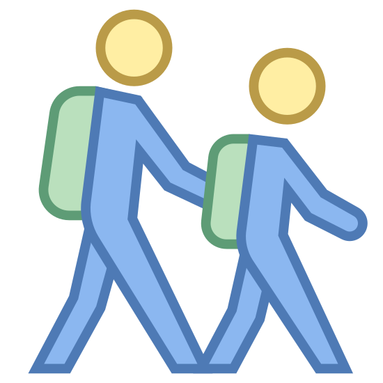 Students icon. The outline of two people walking. The person in front is slightly smaller and they are both wearing backpacks. They look exactly the same except one is a little shorter. It looks like they are walking to school.