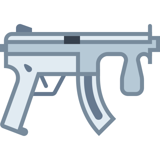 Submachine Gun icon. This icon represents a submachine gun. It is a rectangle with two lines going down into two handles with a trigger in the middle. There is a smaller rectangle coming out the right side with a small rectangle on the bottom and a line on top and a small sqaure in front of it all.