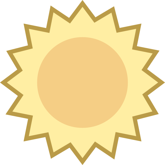 Summer icon. This icon has a pentagon shape on the outside, except instead of flat sides, they are all pointy and go up and down. In the middle of that is just a circle.