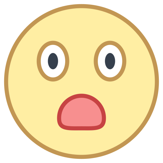 Surprised icon. It's a logo for a surprised person.  The logo has a perfectly round face.  The face has a two raised eyebrows with solid oval eyeballs.  The face does not have a nose and the mouth is partially open.