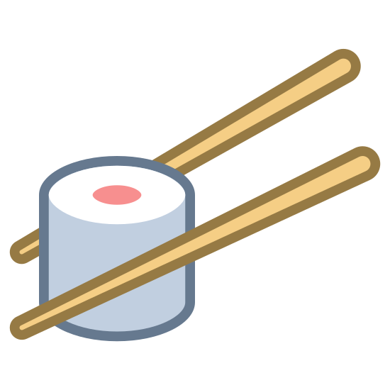 Sushi icon. It is a logo of sushi. In this logo are a pair of chopsticks and inbetween the chopsticks is a piece of sushi roll.
