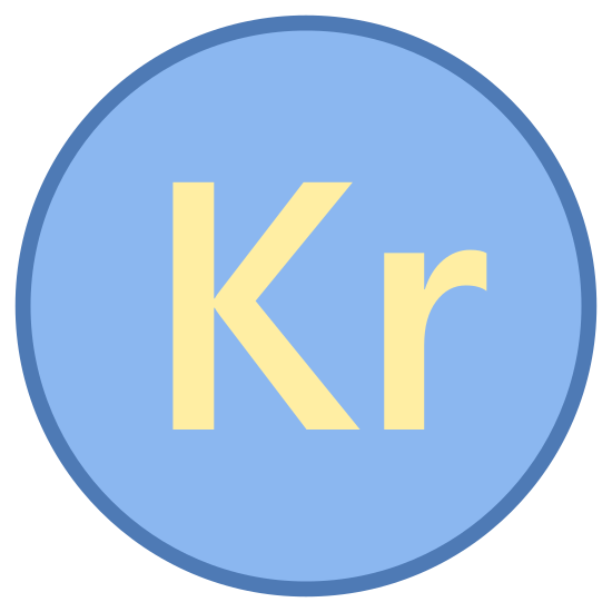 Korona szwedzka icon. The icon is a regular circle. within the circle are the letters 'kr.' both letters are lower case and of identical font. the letters fill up approximately half the circle.