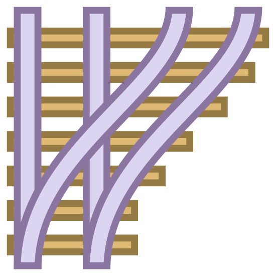 Train Track icon. This is a image of two railroad tracks coming together. One of the tracks are vertical, and the other set of tracks are curved and are beginning to merge with the vertical set of tracks.