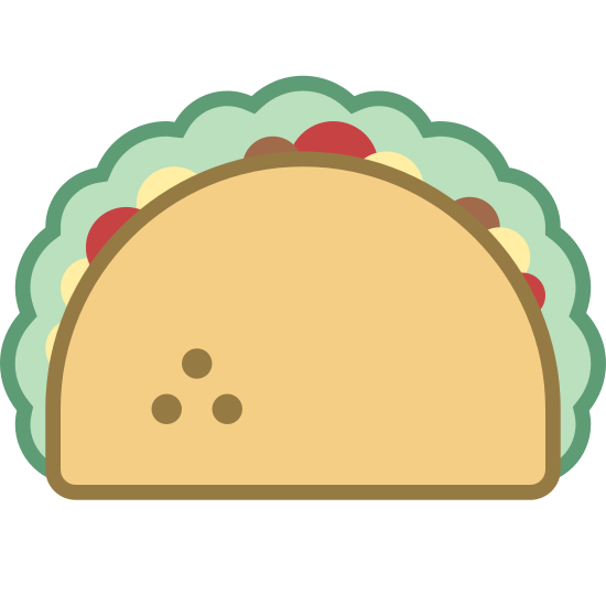 Taco icon. It's a picture of a taco. The shell is a half circle with three dots on the left side of it. There is lettuce poking out from the top and sides of the taco shell.