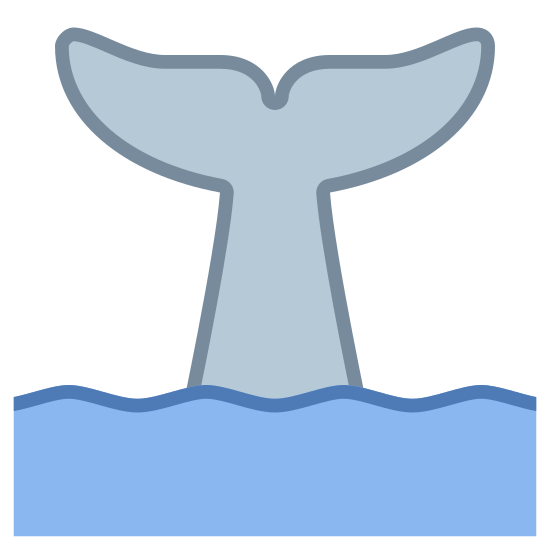 Tail Of Whale icon. This is a picture of the tail of a whale sticking out of the water straight up. it has two fins on the end. you can see the water and waves below it.