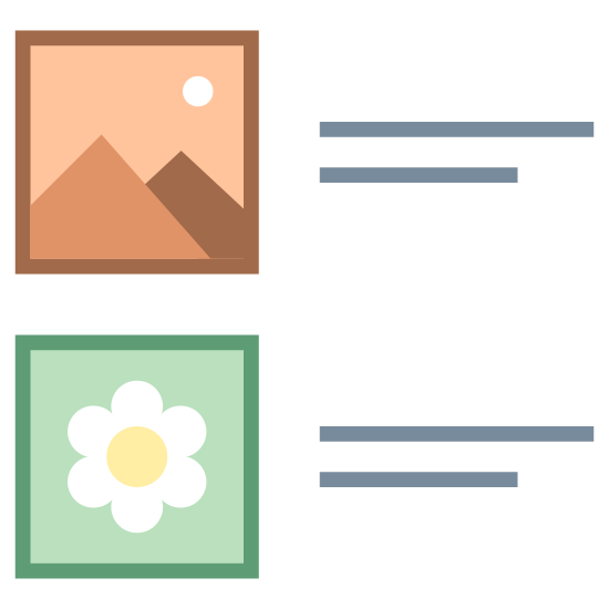 Tiles icon. This logo displays a set of two images placed inside squares with text lined up to the right of each image. The top image features a jagged mountain with a sun or moon in the sky. The bottom image features a single flower.