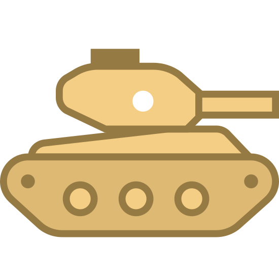 Czołg icon. This logo indicates a war vehicle known as a tank, shown from the side. The part that touches the ground is a rectangle with circles on the inside of it which allows the tank to roll as it drives. On top of this is a small box which has a large gun pointed out the front of it.