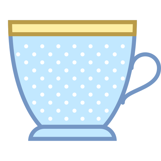 Tea Cup icon. This is a picture of a cup of tea. it has a slanted base at the bottom and the top of it is pretty wide. it's handle is also pictures and it shaped like a half of a heart.