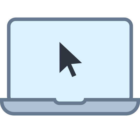 Mouse Pointer icon. There are two rectangles, one inside of another. There is a third much thinner rectangle at the bottom, together they represent a laptop. Inside the inner rectangle is a computer mouse cursor in the middle of the screen.