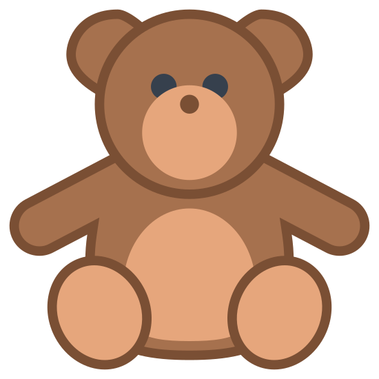 Teddy Bear icon. Ths image is of a childs toy stuffed bear. The face is looking straight at the viewer. It is in a sitting position, and has two arms and two legs but no hands or feet. Its face consists of eyes and a snout with a nose but no mouth. There are two round ears protruding from the top of the head.