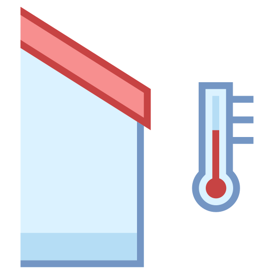 Temperatura na zewnątrz icon. There is a lightbulb shaped object that looks upside down at the very right side. there is a circle inside of it with a line on it, facing up. there is a house on the left side