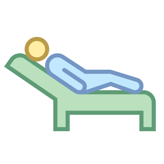 Therapy icon. This logo has a nondescript figure with no arms, just a head and body outline, lying on a reclined lounge-like chair with feet on the bottom. The figure is reclined with their legs slightly bent.