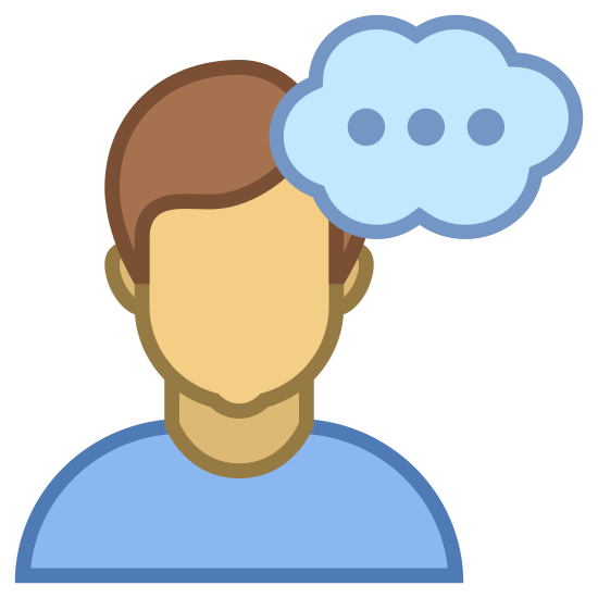 "Thinking Male icon. This icon for ""thinking male"" depicts a man's head. There are small ears on either side of the head, and hair and eyes are depicted, however, there is no nose or mouth. On the top right side of the head their is a small cloud bubble, with three small dots horizontal to one another in its center."