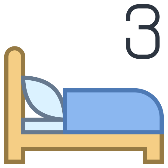 Three Beds icon. This is a symbol of a bed. There is a three above the bed. This means that there are three beds in total.
