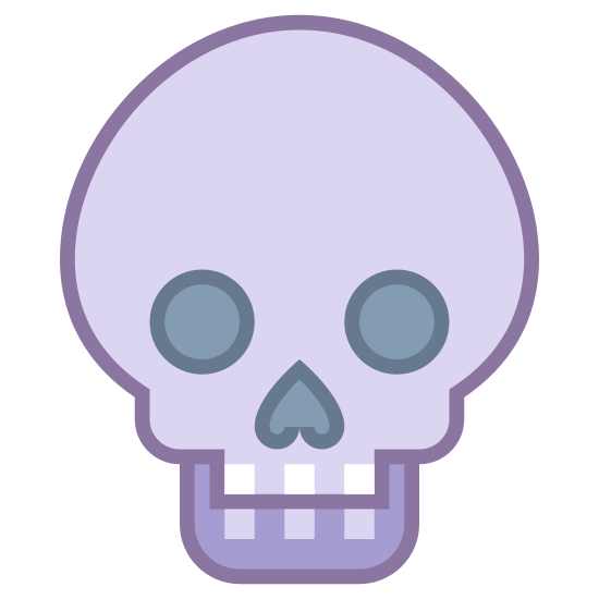 Thriller icon. This image is a skull.  The head is drawn wide on the sides and a bit narrow on top.  There are too egg shaped eyes next to one another.  A small butterfly shaped dot takes the place as the nose and the image drops off at the top of the mouth, what would be a jaw is missing.