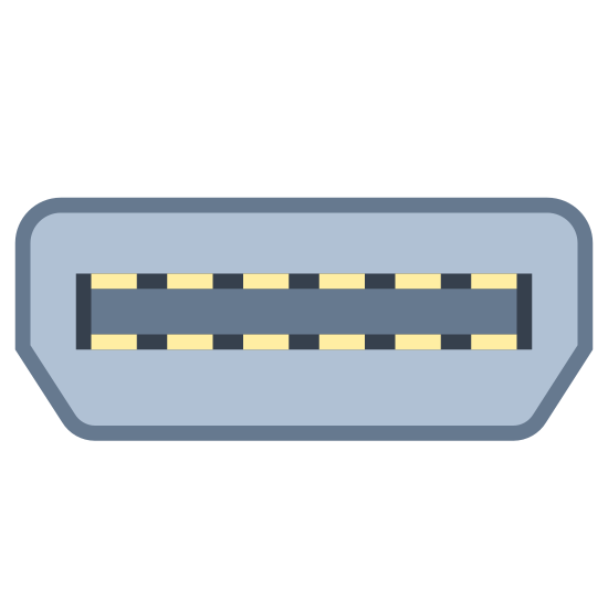 Thunderbolt icon. The icon is a logo of Thunderbolt. The icon has a bunker like shape, with what appears to be a long horizontal rectangular window in the center. There is also a lighting bolt with an arrow on the bottom of it, located directly on top of the bunker shaped object.