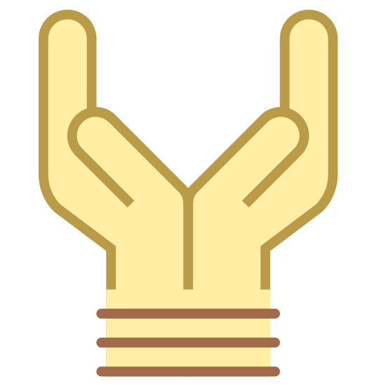 Tied Hands icon. This is an icon of two hands together each going out separate ways.  They are clearly tied together at the bottom and can not break free of each other.