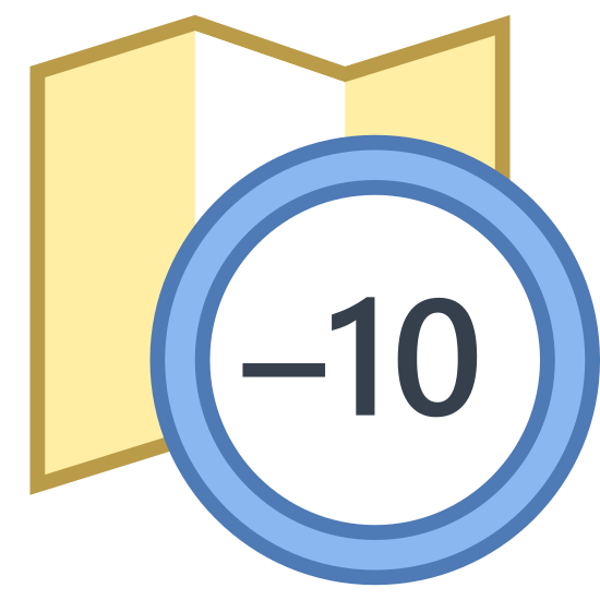 Timezone -10 icon. A timezone -10 icon is represented with a foldout map icon. The map will have straight sides, but on the top and bottom will be a zig zag pattern to show it's foldout component. An important part of the timezone -10 icon is that there will circle and inside the circle there is a -10.