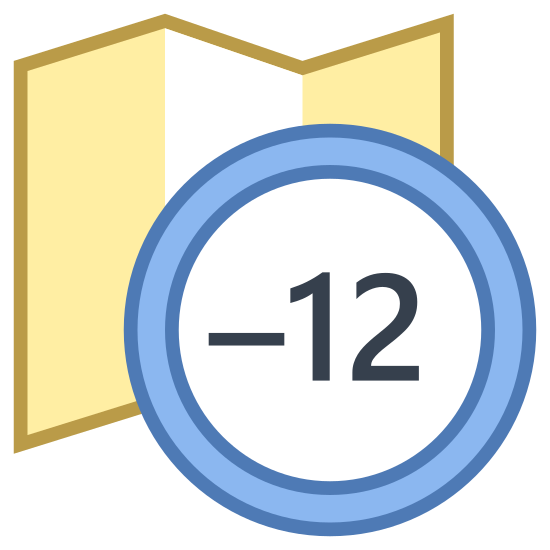 Timezone -12 icon. A timezone -12 icon is represented with a foldout map icon and on the edge of the map there is a circle with a -12 written inside. The map will have straight lines on both sides, but on the top and bottom there will be a zig zag pattern to show it's foldout component.