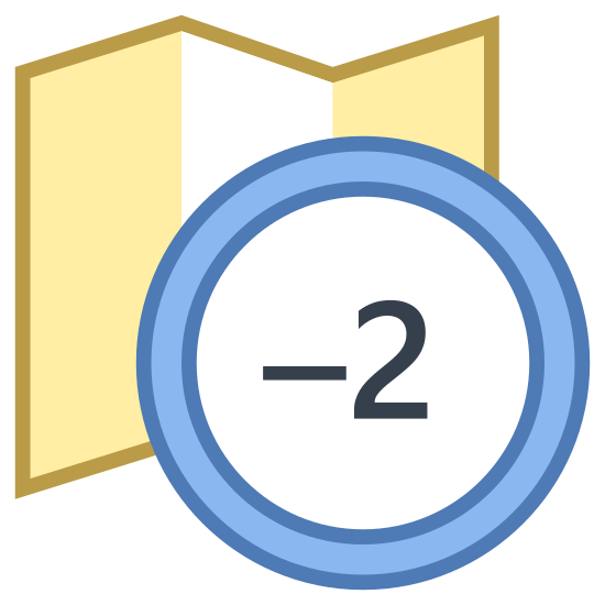 "Timezone -2 icon. It is a combination of two objects. One is a generic folded map-like object with a zig-zag top and bottom that is partially covered in dots. In the foreground is a circle with the number ""-2"" in the center."