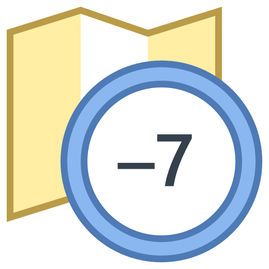 Timezone +7 icon. There is a horizontal rectangle with zigzag lines on the top and bottom. Inside the rectangle are four columns of small parsed dots. The bottom right corner of the rectangle is overlapped by a circle about a quarter of the size with the plus symbol then the number seven inside of it.