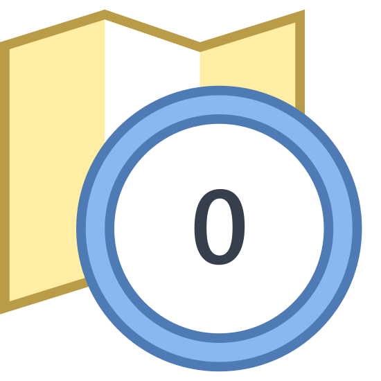 Timezone UTC icon. It is an icon for timezone UTC. There is an outline of a folded map that is opened up. The map has nothing but dots inside of it. In the bottom right of the icon, there is the number 0 that covers about a quarter of the map.