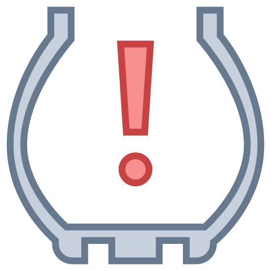 Tire Pressure icon. This icon is an icon you would see in your car for tire pressure. It shows an exclamation point inside of a half-circle. The bottom of the half circle is a jagged edge touching the ground.
