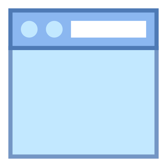 "Navigation Toolbar Top  icon. This ""navigation toolbar top"" icon consists of a rectangle. Three quarters of it extends from the lower portion upward. The third quarter has a line crossing horizontally. In the upper quarter are two small circles next to each other horizontally positioned to the left. To the left of the upper quarter is a small thin rectangle. It looks like a rectangle with two round buttons on top on the upper left and a long, rectangular horizontal on the upper right, with a dividing line underneath them."