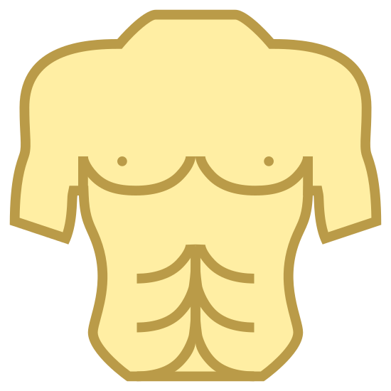 Torso icon. It's an icon of a man's torso. The icon starts from the base of the neck to the man's hips, including his upper arms, but cuts off right before his elbows. The belly button and nipples are conspicuously missing.