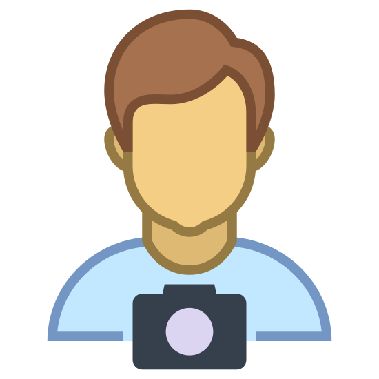 Tourist Guide icon. The icon is a male humanoid portrait outline, with a simplified old-style disposable camera hanging from a lanyard around its nest. The figure has short hair and barely-present ears. The icon represents a male engaging in tourism of a different area.