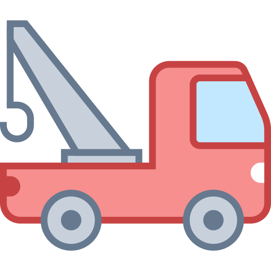 Tow Truck icon. A Tow Truck, Four wheels a front section that seats the driver and another passenger. The back of the truck has a hook that lifts the cars to be attached to the truck.