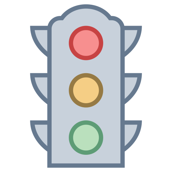 Светофор icon. This traffic light logo is an upright rectangle with four round corners, and three circles stacked on top of one another horizontally. Upon each side of the rectangle, there are 3 right-angle triangles with one side touching the rectangle, and the slope of the triangles are facing downwards. These triangles are supposed to be overhangs which blocks glare from the sun on the traffic light.