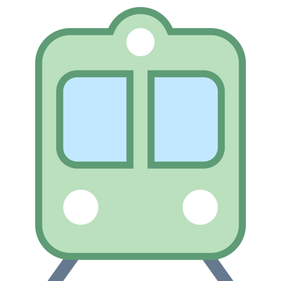 Pociąg icon. The icon shows a train or subway that is seen head on traveling down a set of rails. The front windshield is seen with headlights and a square box that would have information displayed.