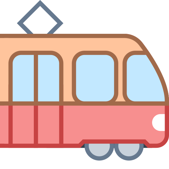Tram Side View icon. The image resembles a four-wheeled tram shaped like a rectangle. Alongside its two front and back wheels. There's a diamond centerpiece lying on the top of the tram. In addition, three square-shaped windows lie on the side of the body: two that are irregularly shaped and one that's even throughout its sides.