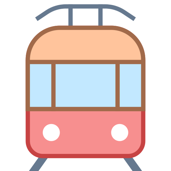 Tram icon. This is a picture of a tram with two small legs at the bottom. At the top, it has a curved cover that is connected by two small bars. The inside of the tram has a large window and also two headlights. It is facing towards you.