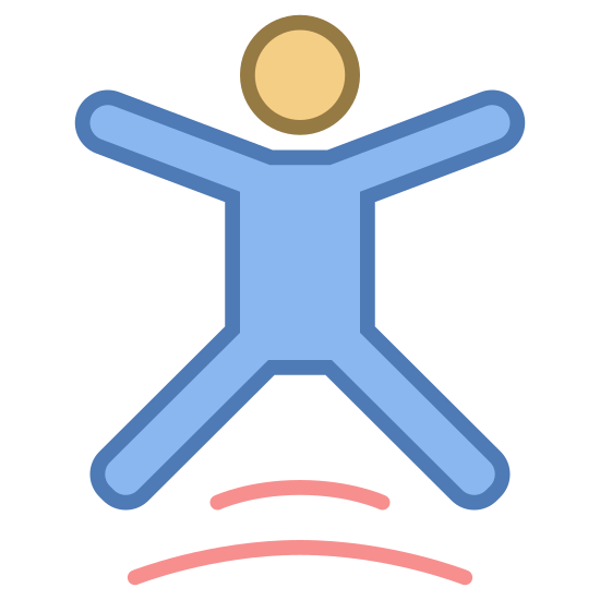 Jump icon. This icon represents trampoline park. It is a body with arms and legs spread, it has a small circle head. Under the body's legs is two curved lines. The body appears to be jumping.